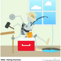 #046 - Fishing Fixerman Art Prints & Posters by myrobotfriends
