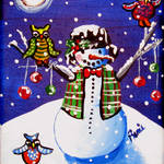 """Owls Snowman Celebration"" by reniebritenbucher"