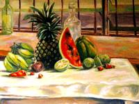 Tropical fruits and a bottle