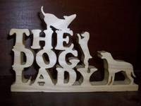 Dog Lady wood display