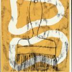 """Art yellow and black paint brush Mono print 2"" by caseysart"
