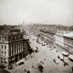 """Market and Sansome viewing East to Ferry Bld c1900"" by worldwidearchive"