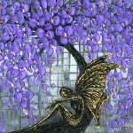 """Fairy under purple cherry blossom tree"" by modernhouseart"