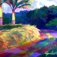 Two Palms and Road Art Prints & Posters by Gabrielle Lisa Cinelli