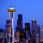 """Blue Seattle Skyline"" by GDada"