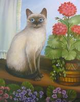 Siamese Cat with Flowers