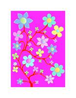 Bling Florals 6 (blue, pink flowers)