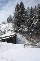 Old snow covered bridge