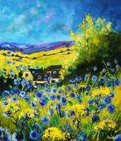 Blue poppies landscape