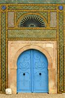 Tunisian doorway in a mosaic laid wall, Tunis,
