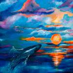 """Whale Sunset Square Original Painting by Ginette"" by GinetteCallaway"