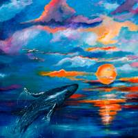 Whale Sunset Square Original Painting by Ginette