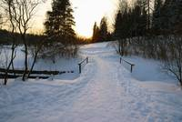 Winter landscape with a wooden bridge