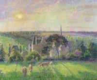 The Church and Farm of Eragny, 1895, by Pissarro