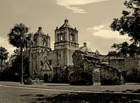 Mission Concepcion in sepia