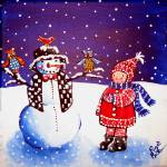 """Little Girl Snowman Owls"" by reniebritenbucher"