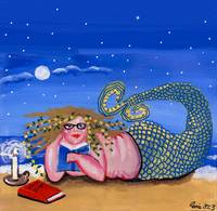 Bookworm Nerd Mermaid