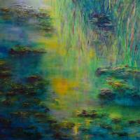 Tribute to Monet Lily Pond Art Prints & Posters by Claire Bull
