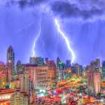 """Bangkok Lightning Bolts - Grunge HDR"" by TourismPicks"
