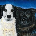 """Oreo & Buddy Dog Portrait"" by AniaMMiloART"