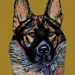 """Ulrike, Greman Shepherd Dog Portrait"" by AniaMMiloART"