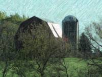 Barn in Colored Pencil Effect
