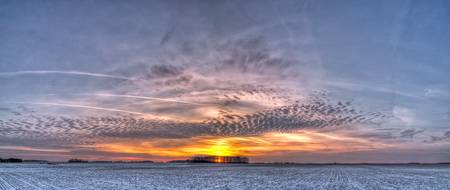 Michigan Winter Sunset Panorama