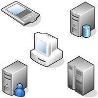 3D network workstation and data hardware icons