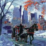 """First Snow in Central Park - New York City Art by"" by BeaconArtWorksCorporation"