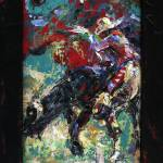 """Bull Riding Rodeo Palette Knife Oil painting"" by Linandara"