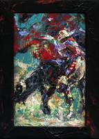 Bull Riding Rodeo Palette Knife Oil painting