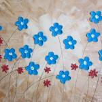 """""""Turquoise and Red Flowers"""" by wildlifeandabstractart"""