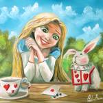 """Alice in wonderland the white rabbit painting"" by GORDONBRUCEART"