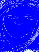 Girl with Blue Face and No Lips