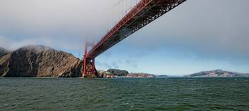 Panorama of Golden Gate Bridge in the Fog