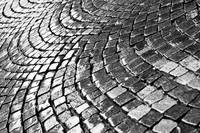 Cobblestone pavement after rain