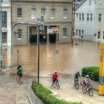 """Grey St, South Brisbane During 2011 Brisbane Flood"" by urban"