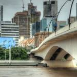 """Victoria Bridge During Brisbane Floods 2011"" by urban"