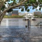 """Pier at South Bank, Brisbane During 2011 Floods"" by urban"