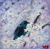 Blackbird in blooms