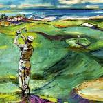 """""""Golfing by the Sea Square Format"""" by GinetteCallaway"""