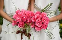 An image of gorgeous vibrant bridesmaids bouquets