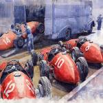 """Team Ferrari 500 F2 1952 French GP"" by shevchukart"