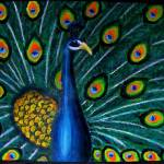 """""Peacock"" Oil Pastel / Acrylic on 16X20 Canvas"" by sebastiantpierre"