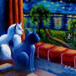 """""Window Cats"" Acrylic on 16X20 Canvas - $250"" by sebastiantpierre"