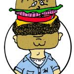 """burger head"" by milliondollartodd"