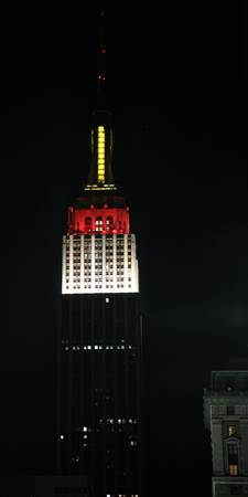 Empire State Building in Red, White and Yellow
