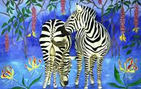 Zebras in a Tropical Garden