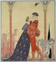 Lovers on a Balcony by Georges Barbier