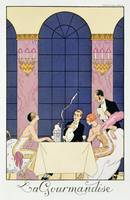 The Gourmands, 1920-30 (pochoir print)